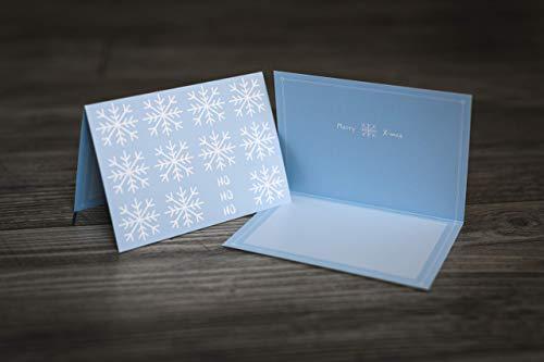 Weihnachtskarte   Weihnachtskarten - blau/pastellblau - schlichte Klappkarte im Set mit Umschlag - 5 Stück