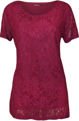 WearAll - Übergröße Damen Spitze Blumen Gefüttert Kurzarm T-Shirt Top - 4 Farben - Größen 42-56 Magenta