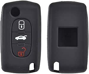 Xukey 3 Tasten Silikon Schlüsselhülle Für Peugeot 207 307 308 607 Cc Cw Expert Partner Tepee Keyless Fob Shell Holder Protector Auto