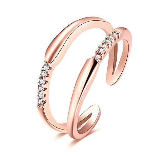 FJYOURIA Frauen justierbare 2 Linien öffnen Finger-Ring 18ct Rose Gold / Platin überzogener Ring mit glänzendem Kristall (18 Karat (750) Rotgold)