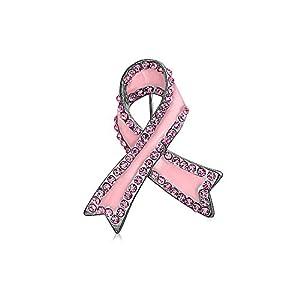 Bling Jewelry Rosa Bandschleife Brustkrebsüberlebender Rosa Kristall Broschen & Anstecknadeln Für Damen Emaille Versilbert