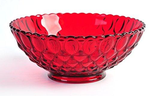 10.25 Ruby Red Glass Elizabeth Pattern Centerpiece Serving Bowl by Mosser Glass American Pattern Glass Bowl