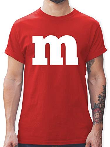 Kostüm M Und M Rotes - Karneval & Fasching - Gruppen-Kostüm m Aufdruck - S - Rot - L190 - Herren T-Shirt und Männer Tshirt