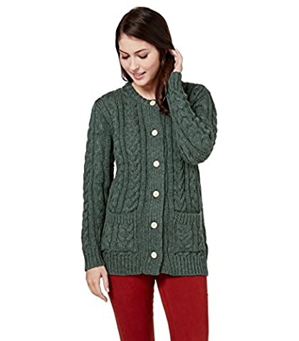 WoolOvers Womens Pure Wool Aran Crew Neck Knitted Cardigan Kiltimagh, S