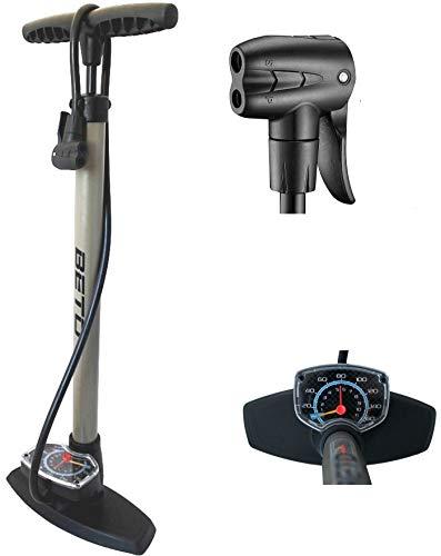fahrradpumpe mit manometer Standpumpe mit Extra grossem Manometer BETO Fahrradpumpe - für Alle Ventile