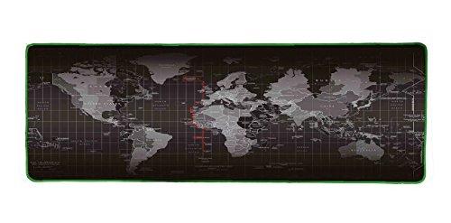 Woodlandu Verl?ngert Gaming Mouse Pad Gedruckt mit Weltkarte Gen?hte Kanten Geschwindigkeit seidiger Oberfl?che rutschfeste Gummiuntermatten 300x900x3mm/11.8x35.4x0.12inch Gr¨¹n Edges