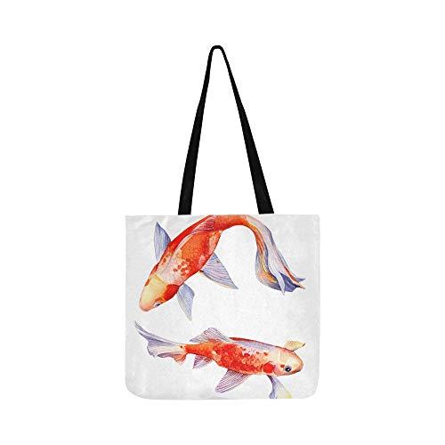 Satz von schönen orange Fisch Canvas Tote Handtasche Schultertasche Crossbody Taschen Geldbörsen für Männer und Frauen Einkaufstasche (Betta Wasser)