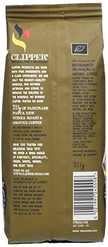 Clipper Fairtrade Organic Roast and Ground Papua New Guinea 227 g (Pack of 4)