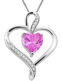 "Silvernshine Women's 1.25 Ct Heart Cut Pink Sapphire & Diamond Pendant Necklace, 18"" .925 Silver Chain"