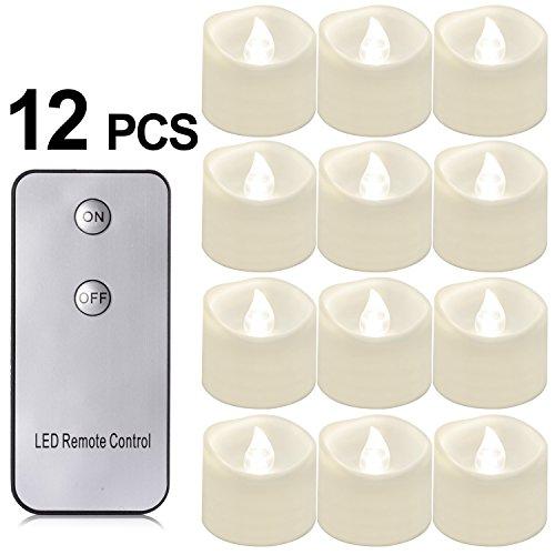 PChero Velas de té con Mando a Distancia, 12Pack batería Alimentado por LED Flameless Velas con Mando a Distancia, Carga hasta 48Horas-[Color Blanco (Fácil cálido)]