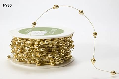 Gold Beaded Wire by May Arts on a 3m Length (N.B. this is a cut from a roll)