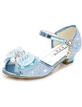 YOGLY Sandalias de Niña Verano Sandalias de Tacón Alto Niñas Zapatos de Tacón Lentejuelas de Perlas Fantasía Zapatos...