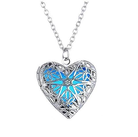 Winter Secret de nouveaux Mode Glow Noctilucence creux Pendentif cœur ouvert en alliage Collier