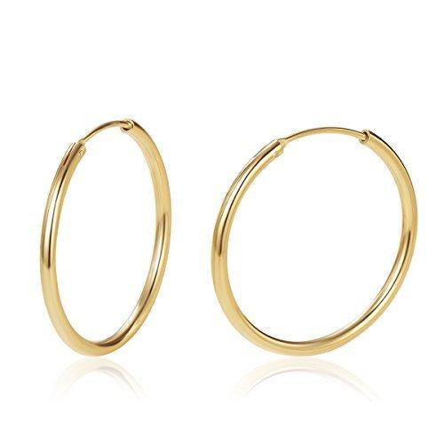 Pendientes De Aro para Mujer Plata de ley 925 Chapada en Oro círculo Aretes Pendientes Hoops - Diámetro: 30 mm
