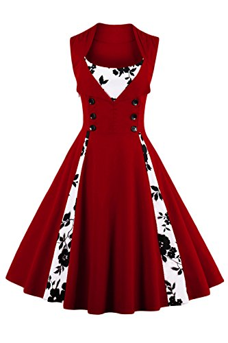 Up Plus Kostüm Pin Größe - Babyonline Vintage Retro Festliche Kleider Neckholder Blumen Sommerkleider Weinrot M