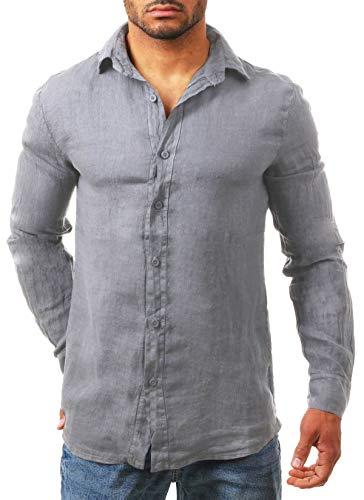 Young & Rich Herren Leinenhemd Langarm körperbetont leicht tailliert 100% Leinen T3152-H1650, Grösse:L, Farbe:Grau