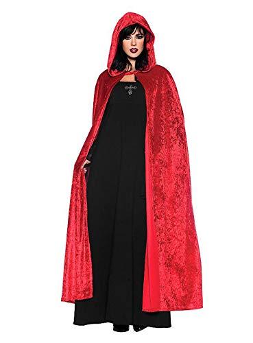 Mrisbtre Umhang Rot Unisex mit Kapuze Lange Samtumhang Cape Vampir Kostüm Halloween Karneval Fasching 004RL