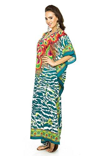 Looking Glam Neu Damen überdimensional Maxi Kimono Kaftan Tunika Kaftan Damen Top freie Größe green-17004