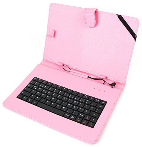 DURAGADGET Rosa Kunstleder-Schutzhülle Deutsche QWERTZ Tastatur Mikro USB geeignet für 10 Zoll Tablets mit OTG Funktion (Host Funktion/On-The-Go) zum Beispiel Samsung/Huawei/Aldi Medion/TrekStor