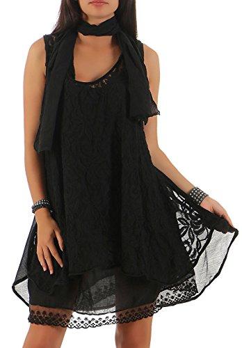 malito Strickkleid mit Schal Maxikleid 7358 Damen One Size (Bis Sixties Kleid)
