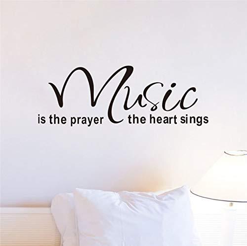 HOUCONG Musik ist das Gebet Das Herz singt Vinyl Wandaufkleber Buchstaben Wohnzimmer Indoor Wandkunst Dekor DIY Schwarz Abziehbilder (Vinyl-schablone Buchstaben)