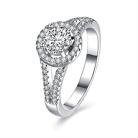 Balansoho Argent sterling 925CZ Mariage Bandes Halo anniversaire de mariage Bagues de fiançailles Femme Taille 8