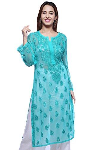 ADA Hand Embroidery Lucknow Chikan Regular Wear Faux Georgette Kurti Kurta A130746