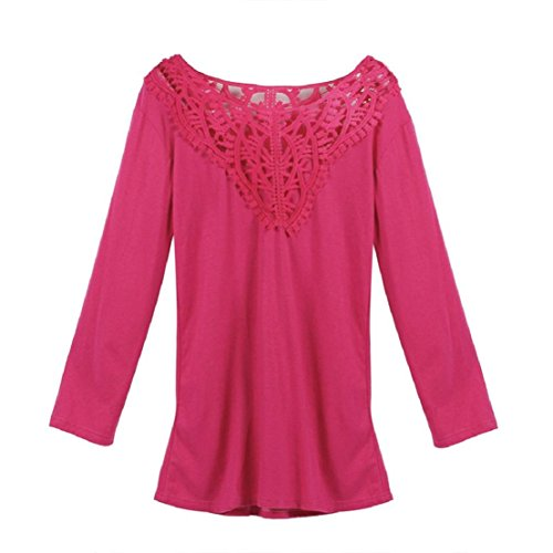 WOCACHI Damen Long Sleeve Spitze Nähen Bluse lose Baumwolle Tops Shirt Hot  Pink