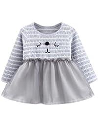 OverDose Niedliche Cartoon Kleinkind Baby Mädchen Langarm Herbst Winter Katze Tutu Streifen Langarm Prinzessin Kleid