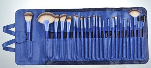 Davidsonne Professionnel Fond de Teint Poudre Blush cosmétiques Set de pinceaux à maquillage Pochette sac bleu (Lot de 24)