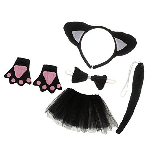 Einfach Schwanz Katze Kostüm - MagiDeal Tierkostüm 5tlg. Katze Stirnband Fliege Handschuhe Schwanz Tutu Rock Katze Kostüm Set Karnevalskostüme Tiere Faschingskostüm Tierkostüm