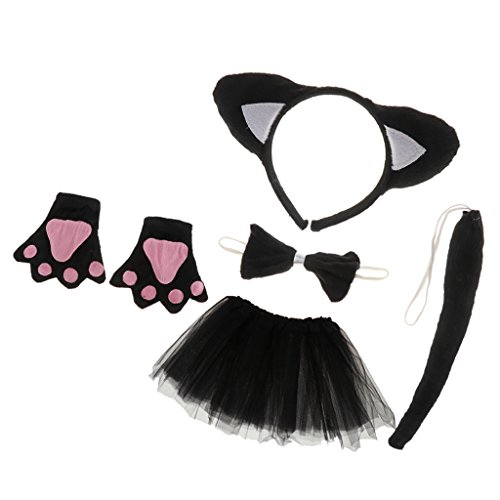 5tlg. Katze Stirnband Fliege Handschuhe Schwanz Tutu Rock Katze Kostüm Set Karnevalskostüme Tiere Faschingskostüm Tierkostüm (Schwarze Katze Tutu Kostüm)