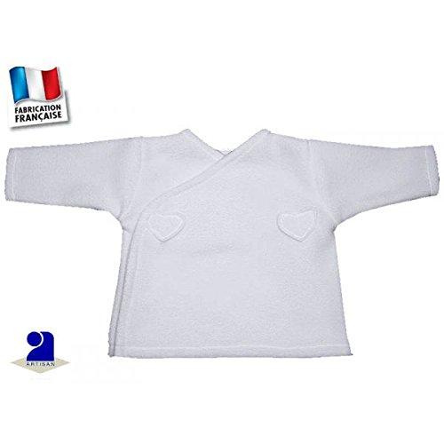 Poussin bleu - Brassière bébé blanche, polaire coeurs Taille - 54 cm 1 mois, Couleur - Blanc
