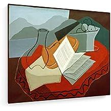 Juan Gris - violín delante de la ventana - 60x50 cm - Impresiones sobre lienzo - weewado - Muro de arte - Antiguos Maestros