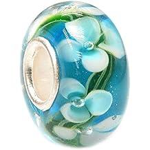 Perlina in vetro con fiori stile Hawaii per braccialetti con charm Pandora, Chamilia, Troll, Biagi