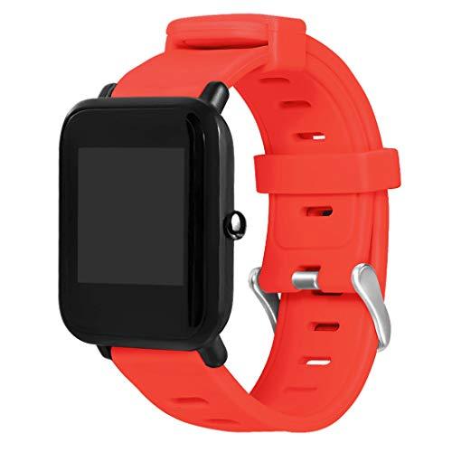 mazfit Bip Youth Armband Silikon Armband mit Großen Löchern Armband für Xiaomi Huami Amazfit Bip Youth Lite Watch Wasserdichter Atmungsaktiver Armband für Männer und Frauen (Rot) ()