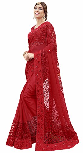 MANVAA Georgette Saree With Blouse Piece (Kyr321004_Red_Free Size)