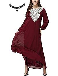 M-Queen Musulmane Long Maxi Robe Femmes Mousseline De Soie Islamique Abaya  Muslim Robe Manche eb39bf2a8f0