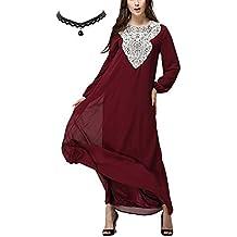 M-Queen Mujer Musulmán Vestido Túnica Kaftan Abaya Islam Manga Larga Maxi Vestido Arab Suelto