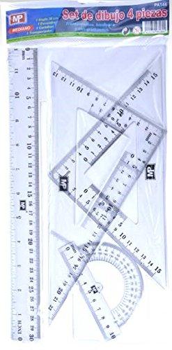 MP PA144 - Pack de 4 reglas de dibujo, mediano