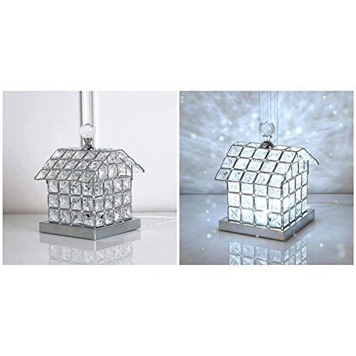 W-LI Europäische Modische Kristall-Led-Schreibtischlampe, Led-Nachtlicht, mit Vollem K9-Kristallhaus-Design-Lampenkörper für Schlafgemach, Salon, Dekoration, Geschenk, Silber -