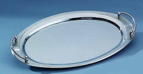 Elegance Silver 73028 Oval Stainless Steel Tray with Handles, 22 x 13 Oval Steel Serving Tray