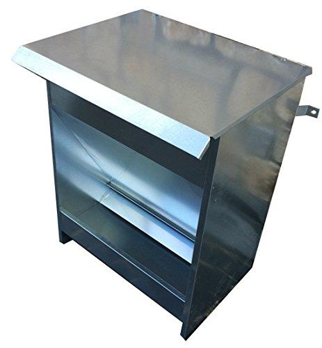 Mangiatoia Semiautomatica Distributore Dispensatore a Tramoggia di Crocchette per Cani. capacità kg 15. Interamente in Lamiera Zincata. Cm 40 x 33 x H 50