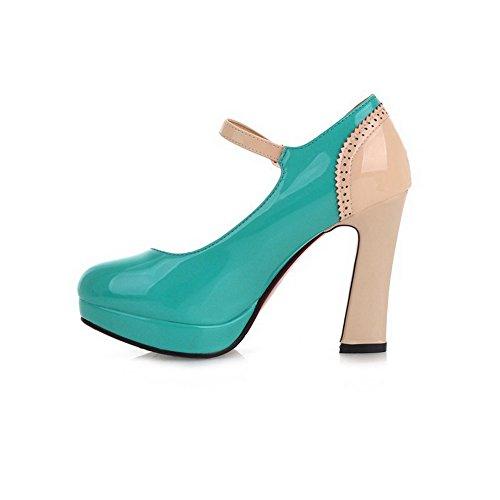 AgooLar Femme Verni Couleurs Mélangées Boucle Rond à Talon Haut Chaussures Légeres Vert