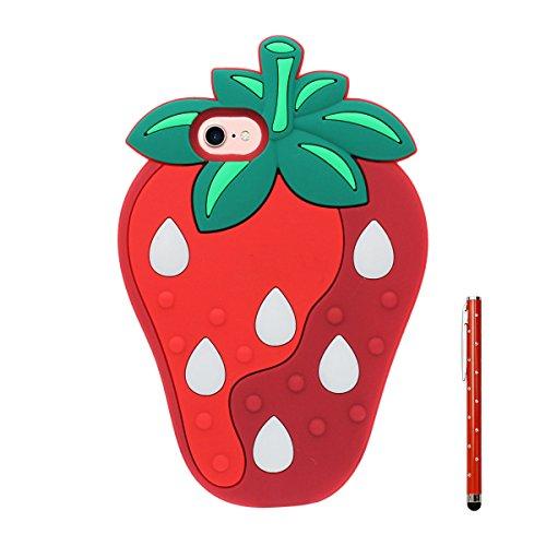 "iPhone 7 Plus Coque Case, Souple Poids léger Silicone Etui Apple iPhone 7 Plus 5.5"", Anti Choc 360° protection Joli Fruit Style Citron Apparence X 1 Stylet Rouge"