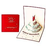 Yuccer 3D Pop Up Geburtstagskarten Handgefertigt Grußkarten Happy Handgemachte Birthday Card Geschenkkarte für Kinder Kreativ Kinder Geschenk (rot, 2 packung)