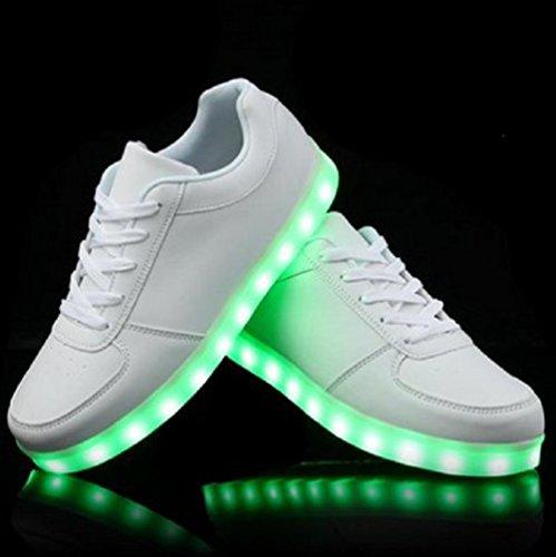 (Present:kleines Handtuch)JUNGLEST® 7 Farbe USB Aufladen LED Leuchtend Sport Schuhe Sportschuhe Sneaker Turnschuhe für Unisex-Erwa Weiß