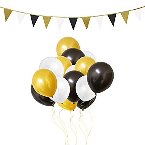 106 Piece Gold, White & Black Latex Party Balloons and Banner Decorations Set by Belle Vous - For Birthday, Kids Parties, Baby Showers, Graduation and Wedding Celebrations - Bulk Decoration