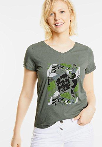 CECIL Damen Basic Shirt mit Frontprint palm green (grün)