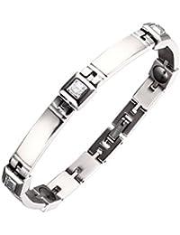 Moocare Damen silbernen Farbe magnetische Armband aus Titan mit Kristall die Gesundheit magnetische Therapie Armreif energie armband